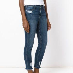 Frame Denim Distressed Cropped Raw Hem Jeans